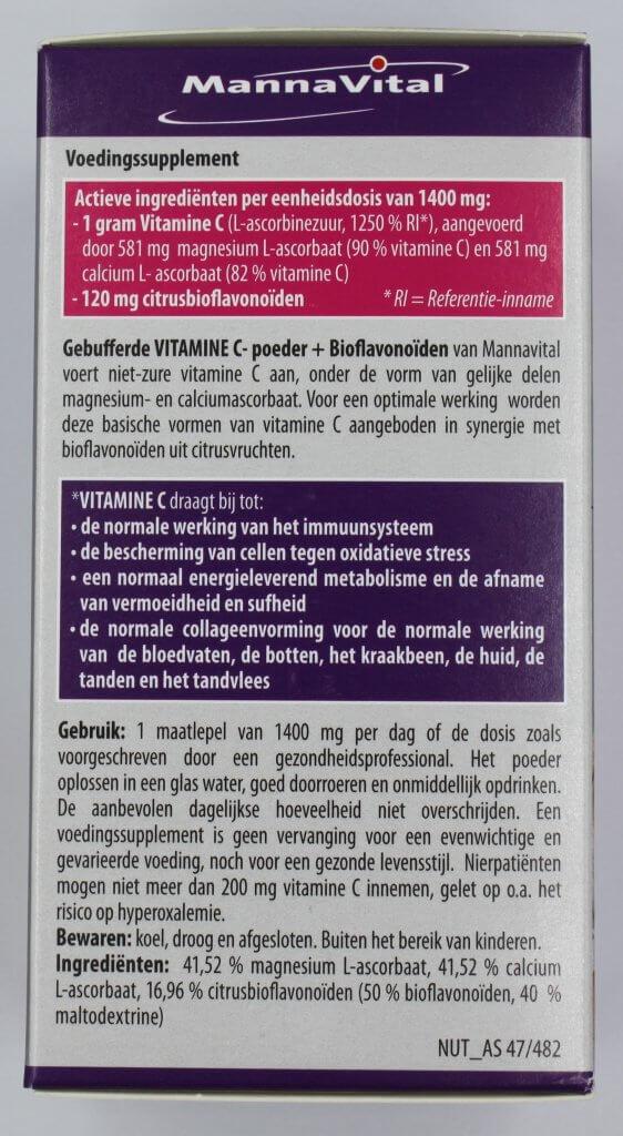 Gebufferd vitamine C poeder voedingssupplement